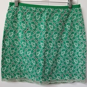 J. Crew Kelly Green & White Lace Overlay Skirt